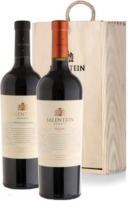 Salentein Reserva Estuche de madera con 1 botella de malbec y 1 botella de cabernet